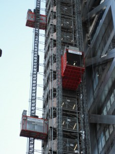 Heron TowerClose Up Showing UBS Common Tower Mammoth & Twin High Speed Passenger Construction Hoists