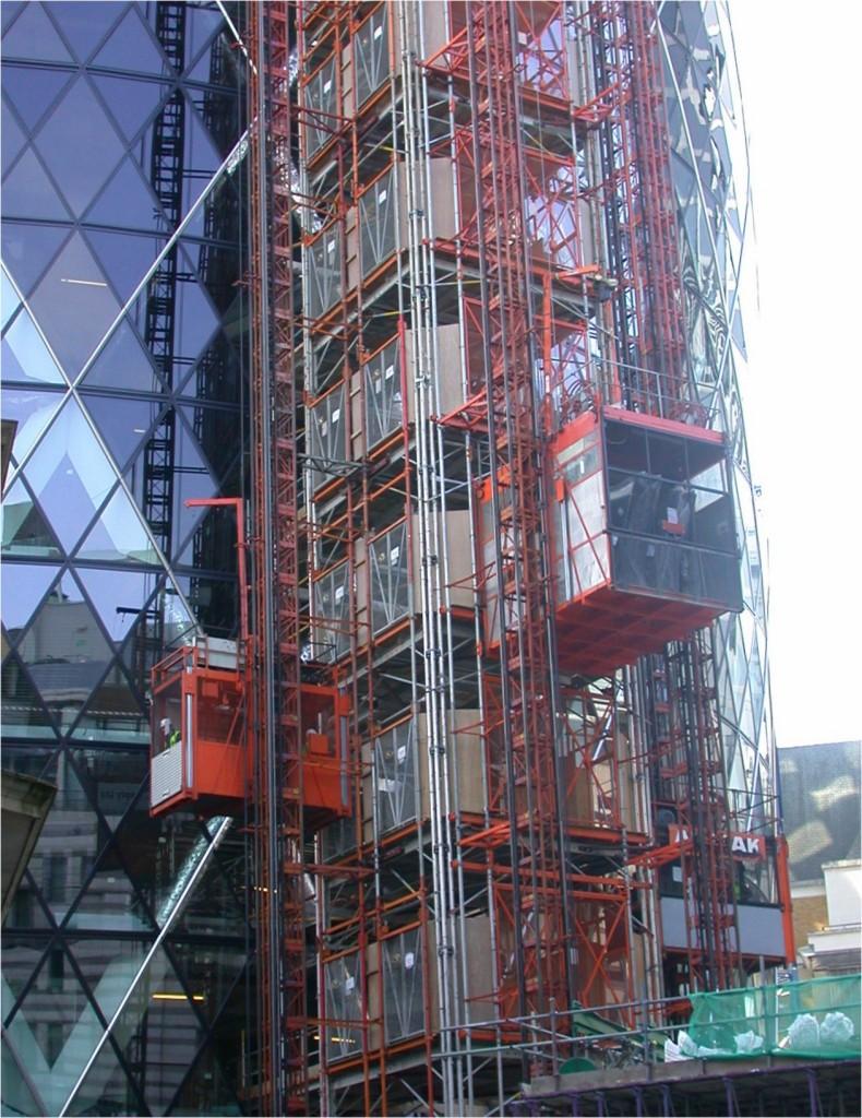Construction Hoist Project Swiss Re Tower The Gherkin